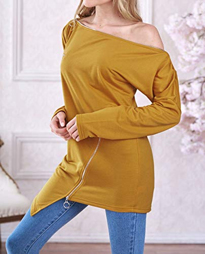 Longues Pulls Jumpers Oblique Blouse paule Pullover Hauts Mode Jaune Irrgulier Manches Femmes Tops qAPwvXAx