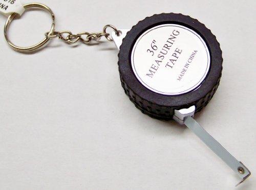 Mini Tire Tape Measure Keychain - 2 Pack (Key Ring Measuring Tape)