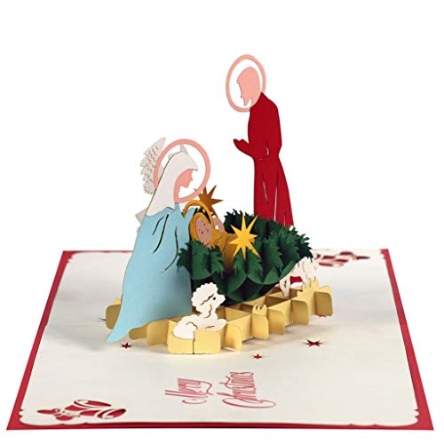 Christmas Card Nativity Scene (CUT POPUP Silent Night Nativity Scene, Christmas 3D Pop-up Greeting Card, Holiday - Intricate Design, Perfect Details, good Choice for Family, Friends, Colleagues & Loved ones)