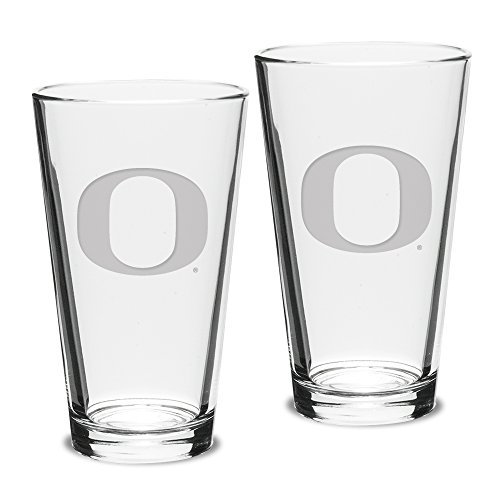 NCAA Oregon Ducks Adult Set of 2 - 16 oz Pub Mixing Glasses Deep Etch Engraved, One Size, Clear
