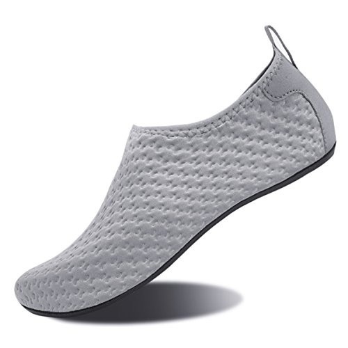 Water Shoes for Womens and Mens Summer Barefoot Shoes Quick Dry Aqua Socks for Beach Swim Yoga Exercise Gray-embossing