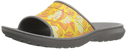 crocs Unisex Classic Tropics Slide Sandal,  Smoke, 6 US Men's / 8 US Women's