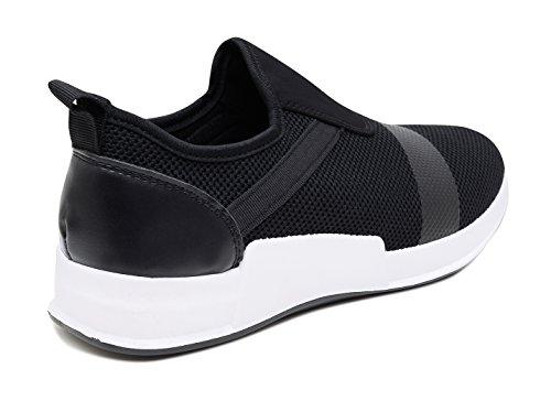 Slip Elastiche Evoga Casual Sportive On Uomo Sneakers Fitness Nero Scarpe TwTngxUAH