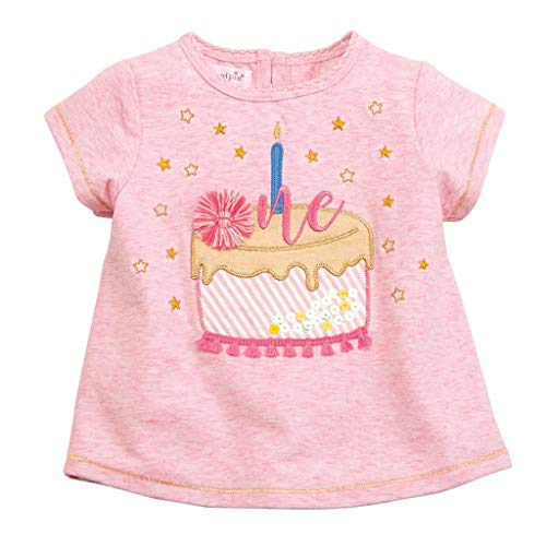 (Mud Pie Baby Girl's One Birthday Tee (Infant) Pink 12-18 Months)