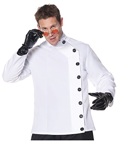 Scientist Costume Crazy (Underwraps Men's Plus-Size Mad Scientist Shirt, White/Black,)