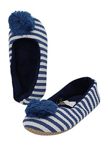 Midwest CBK Womans Blue Striped Slipper with Pom rjqXWZLA5