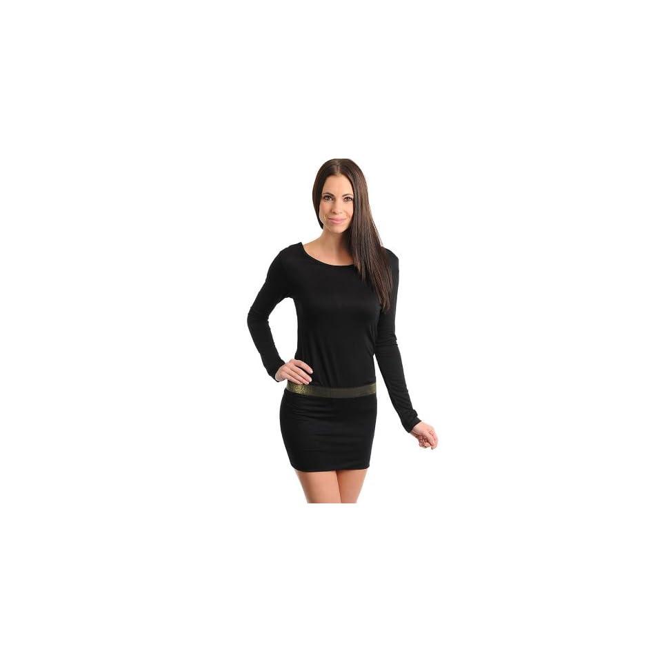 Stanzino Womens Long Sleeve Black Dress with Banded Waist