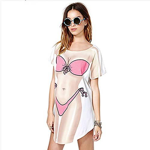 d57b6f3d39 JEYKAY Lady's Cute Bikini Print Cover Up T-Shirt Loose Long Dress (White,