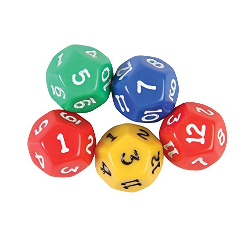 12 Dice - hand2mind Dodecahedra 12-Sided Decahedra 0-12 Dice (Set of 5)