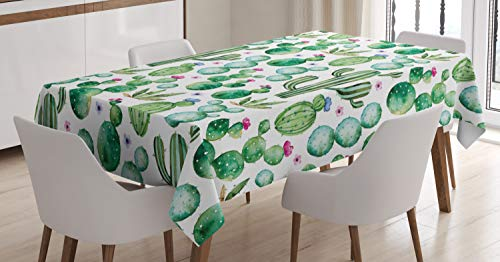 Ambesonne Green Tablecloth, Mexican Texas Cactus Plants Spikes Cartoon Like Artistic Print, Dining Room Kitchen Rectangular Table Cover, 60 W X 84 L Inches, White Pink