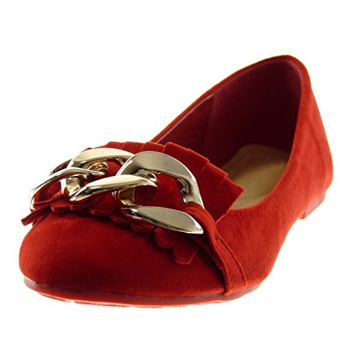Angkorly Ballet Flat Shoes Fashion Women's Shoes Chains 1 Slip cm Red Heel Golden On Fringe Block rWncqrAw
