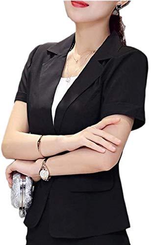 haute Suit qualité Fit manches Blazer bouton occasionnel de revers manteau Chic veste courtes monochrome Chic Slim Suit Leisure Schwarz t156xZ