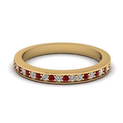 (tusakha Lovely 14k Yellow Gold Finish Engagement Wedding Band Ring-Round White CZ Diamond & Red Ruby Half Eternity Band Ring (6))