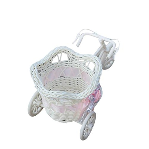 Large Rattan Tricycle Bike Flower Basket Vase Storage Party Decor (A) for $<!--$4.99-->