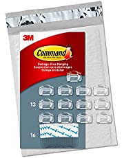 Command Clear Cord Clips, 13 Clips, 16 Strips (CL017-13NA) - Easy to Open Packaging