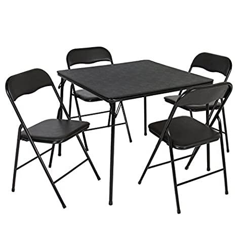 Best Choice Products 5PC Folding Table & Chairs Card Poker Game Parties Portable Furniture Dining - Black Poker Game Table
