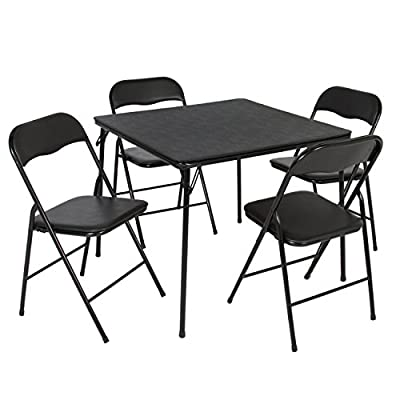 Best Choice Products 5-Piece Home Multipurpose Dining Set w/Folding Table and Chairs - Black - Vinyl upholstered seats and PVC tabletop are designed to make this set easy to clean and maintain Table and 4 chairs fold up, allowing you to store it away easily when not needed Slick design and powder coated finish make this folding set able to match any home or patio dcor - kitchen-dining-room-furniture, kitchen-dining-room, dining-sets - 419mu3i%2BpcL. SS400  -