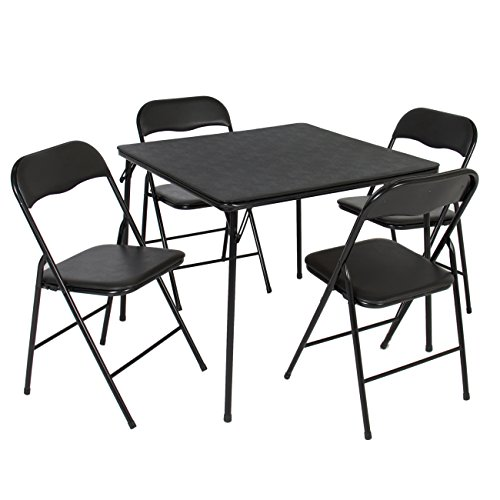 Best Choice Products 5PC Folding Table & Chairs Card Poker Game Parties Portable Furniture Dining Set (Set Dining Table Portable)