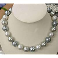FidgetGear Genuine 8/10/12/14mm South Sea White Silver Gray Shell Pearl Beads Necklace 18