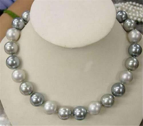 FidgetGear Genuine 8/10/12/14mm South Sea White Silver Gray Shell Pearl Beads Necklace 18'' ()