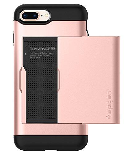 Spigen Slim Armor CS iPhone 8 Plus Case / iPhone 7 Plus Case with Slim Dual Layer Wallet Design and Card Slot Holder for Apple iPhone 8 Plus 2017 / iPhone 7 Plus (2016) - Rose Gold