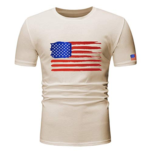 (Boys Youth Short Sleeve T Shirt,Toponly Men Slim Fit Patriotic O Neck American Flag Print Tees Tops Muscle Sports Pullover)