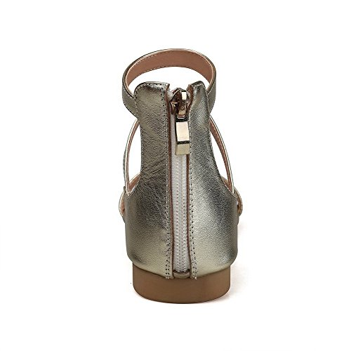 AalarDom Womens Open-Toe Low-Heels PU Solid Zipper Sandals Gold Rso26AI