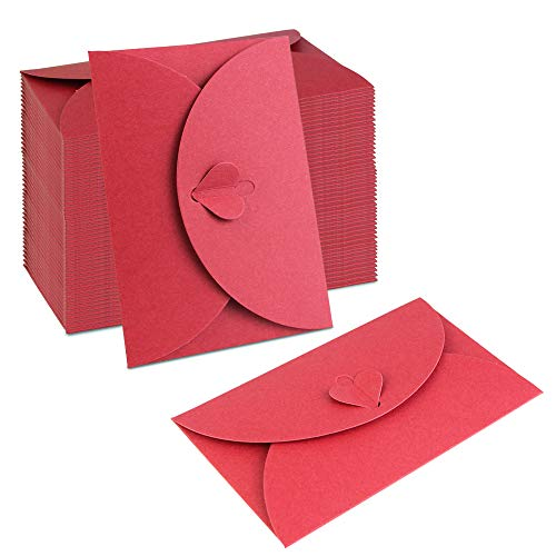 (BUZIFU 50 PCS Kraft Paper Envelopes Mini Handmade Red Envelopes with Heart Clasp for DIY Mother's Day Wedding Birthday Party Christmas Valentine's Day Gift Cards)