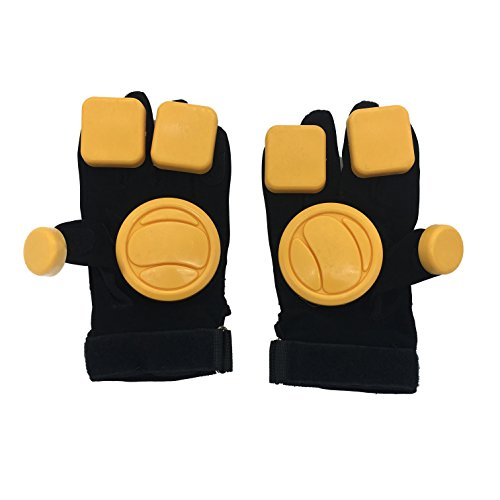 - Linkin Sport Long Board Protective Gloves Downhill Slide Gloves for Roller Skating (Yellow-Block)
