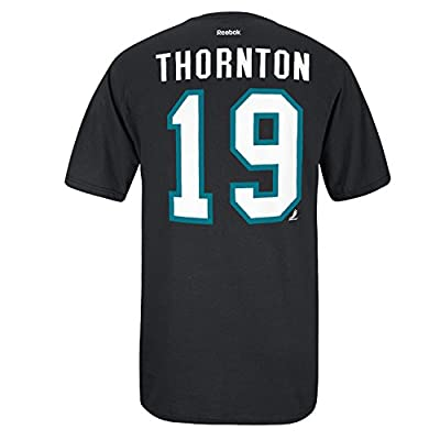 NHL Reebok San Jose Sharks #19 Joe Thornton Black Net Player T-shirt