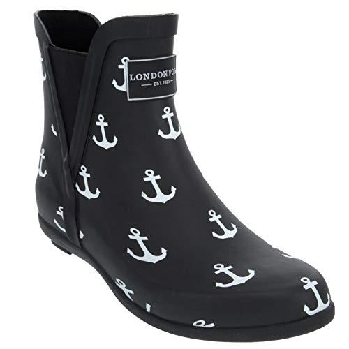 London Fog Womens Piccadilly Rain Boot Black Anchors 9 M ()