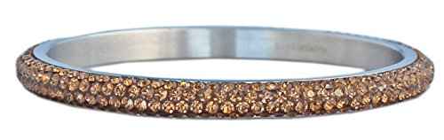 Bangle Bracelet for Women with Rhinestone Crystals: 4 rows of Beautiful Sparkly CRYSTALS - Brown