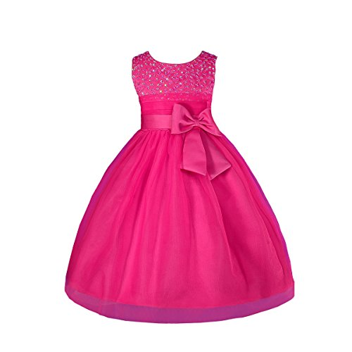 Dressy Daisy Girls' Girls' Beaded Satin Tulle Flower Girl Dresses for Wedding Pageant Party 3-4T Hot Pink