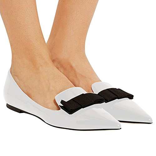 White Flats Toe Pumps Walking Pumps Classic Dress Leather Flats Flats Comfortable Eldof Pointed Office Patent Women's Flats qwAAZaF