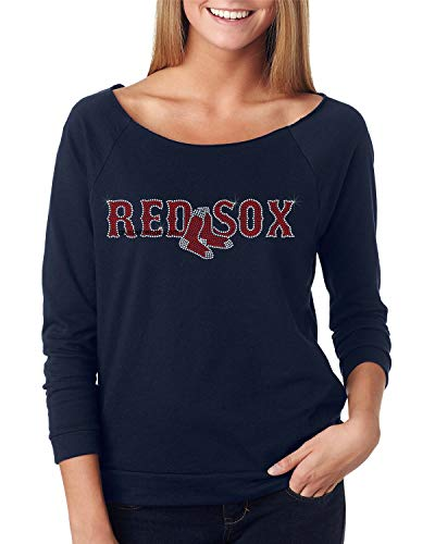 Red Sox, Fitted Next Level Terry Raw Edge 3/4 Sleeve Raglan. Ndk1263 (XLarge, Navy)