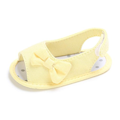 BZLine® Baby Mädchen Kleinkind Bowknot Krippe Prewalker Schuhe Sandalen Sandals Gelb