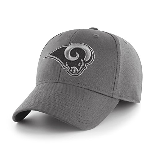 OTS NFL Los Angeles Rams Men's Comer Center Stretch Fit Hat, Charcoal, Medium/Large