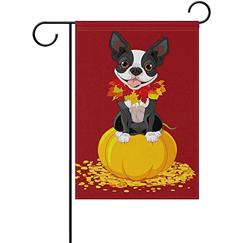 Johnnie Boston Terrier Pumpkin Red Welcome Garden Flag 12 X 18 Inches, Double Sided Seasonal Outdoor Flag and Best for Party Yard Home Decor -