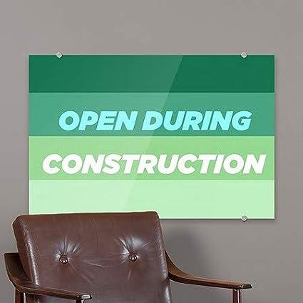 Open During Construction CGSignLab 5-Pack Modern Gradient Premium Brushed Aluminum Sign 18x12