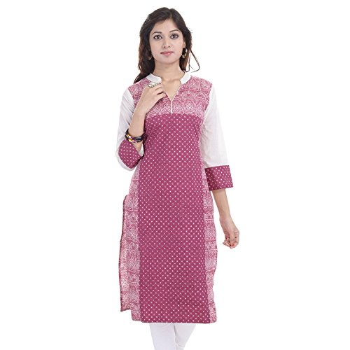 Chichi Women's Casual Printed Cotton Kurti Large Pink by CHI