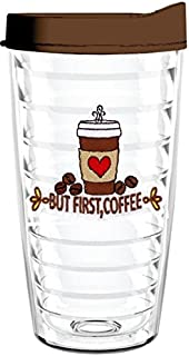 product image for Smile Drinkware USA-BUT FIRST COFFEE 16oz Tritan Insulated Tumbler With Lid and Straw