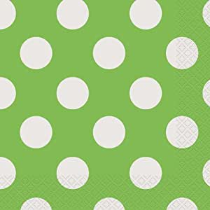 lime green polka dot paper napkins 16ct
