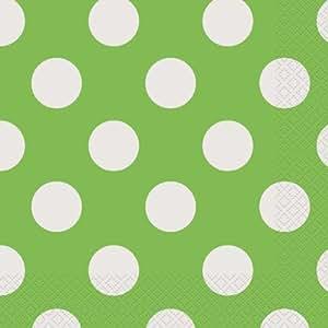 lime green polka dot paper napkins 16ct