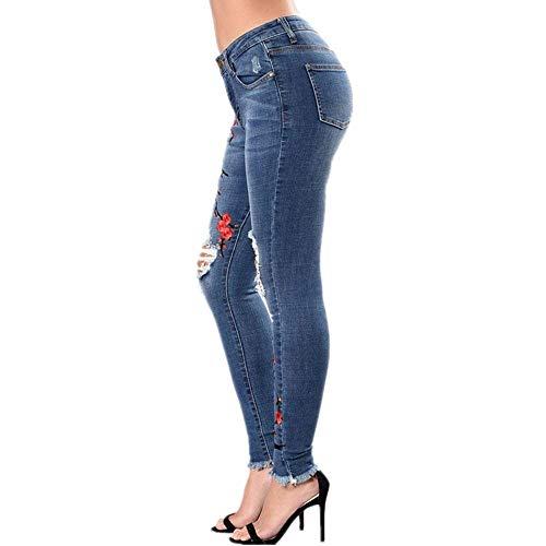 Pantaloni Slim Fit Cerniera Da Denim 20 Donna Blu Stretch Jeans Elasticizzati Ricamati Con Anni twqBStxIr