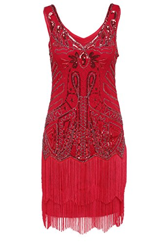 BABEYOND Women's Flapper Dresses 1920s V Neck Beaded Fringed Great Gatsby Dress (X-Large, Red)