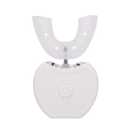Anself 360 ° Cepillo de dientes ultrasónico U Tipo de cabezas Cepillo de dientes para limpieza personal (blanco)