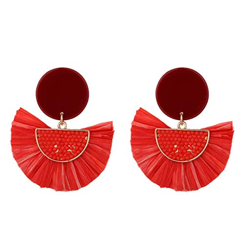 Orcbee  _Bohemian Knit Sour Cream Raffia Inlaid Rice Beads Earrings Ladies Jewelry (Red)