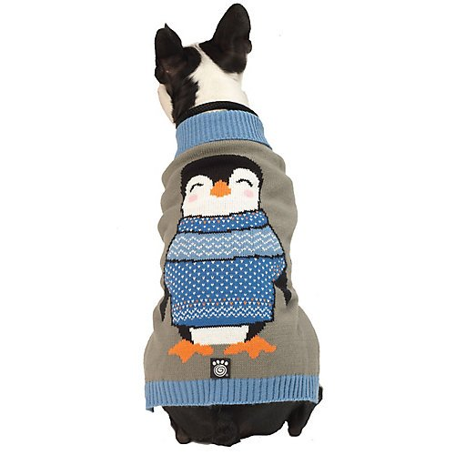 Petrageous Penguin Gray Dog Sweater Medium by PET RAGEOUS DESIGNS