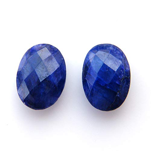 Surbhi Crafts Blue Sapphire Beryl Cabochon Pair 13ct Oval Shape Blue Beryl 14x10x5mm, K-3899 by Surbhi Crafts
