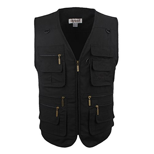 LUSI MADAM Mens Outdoor Vest,Washed Denim Multi-Pockets Casual Vest for Work Fishing Photography Journalist (Pure Black, Medium)